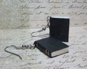 Blank Book Earrings, Book Charm Earrings, Miniature Book Earrings, Tiny Book Jewelry, Book Lovers Earrings, Leather Book Charm Earrings