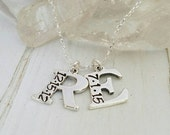 2 Letter, Initial Date Necklace, Sterling Silver, Custom Made, Initial Letter Necklace, Personalized, Hand Stamped, Mommy Initial Necklace