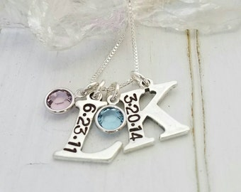 Letter and Date Necklace, Large, Sterling Silver, Two Letter Initials, Personalized Mother Necklace, Birthstones Jewelry, Birthdate initial