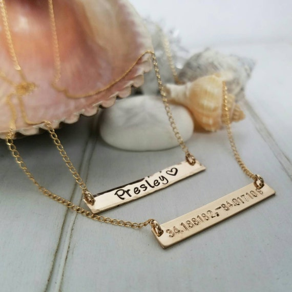 Gold Bar Necklace - Name Bar Necklace - Coordinates Necklace - Personalized Name bar necklace - Custom name Necklace - 14kt Gold Filled