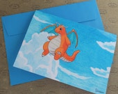 pokemon greeting card - dragonite - kawaii notecards - otaku