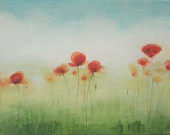 Small Acrylic Painting, Poppy Art, Original Painting Red Poppies Field, Canvas Art, Panel Fine Art Painting, Nature, Home Decor