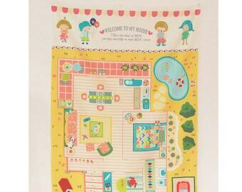 """Girl's Fabric Linen Cotton For Bag Wall Decor Cushion - My Little Girls Play Mat 33""""x57""""/ 85x145cm"""