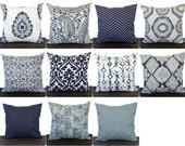 Pillow, Throw Pillow, Pillow Cover, Cushion, Decorative Pillow, Vintage Indigo Blue Navy Gray White contemporary modern home decor