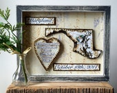 State Map and Heart - Anniversary Gift - Framed Map Art - Rustic Decor