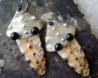 Insect, eco friendly up cycled ooak tin mixed metal earrings, vintage tin, Turkoman Goes Modern, textured metal, tin earring, AnvilArtifacts
