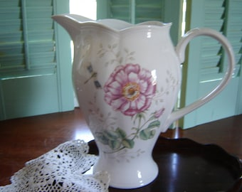 Vintage pitcher tall Lennox pitcher Louise le Luye porcelain Butterfly Meadows pitcher wedding table centerpiece gift idea French Country