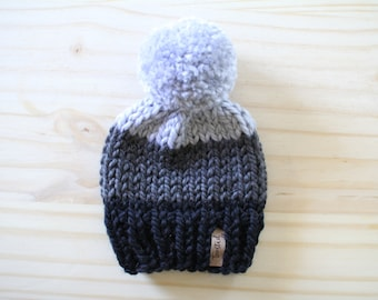 Color Block Beanie // Chunky Knit Hat // Customizable // Slouchy Beanie // Pom Pom // Cozy // Newborn // Baby // Toddler // Child