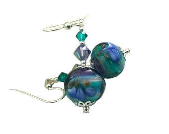 Murano glass Lampwork earrings blue, aqua, plum with flowers and Lilac and zircon Swarovski crystals, Sterling Silver beads, earwires