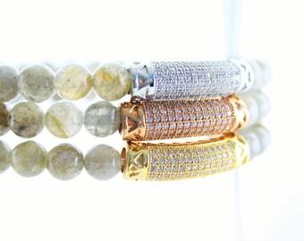 Gemstone Labradorite and Micro-Pave Tube Beaded Bracelets