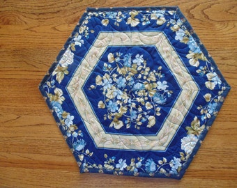 Any Season Blue and Tan Floral Quilted Hexagonal Table Topper