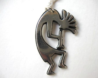 "Vintage Zuni sterling silver neclace, Kokopelli dancer pendant, 925, 16"" sterling box chain, Southwest, Native American Jewelry, gift idea"