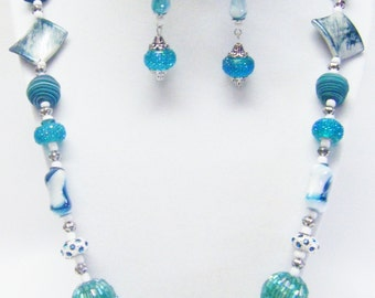 26 Inch Assorted Turquoise Acrylic/Glass Beaded Necklace/Earrings /Set