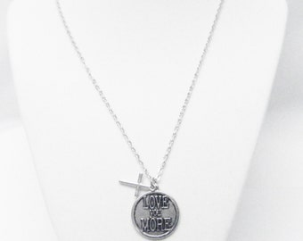 "Round Silver Plated ""love you more"" Charm Necklace"