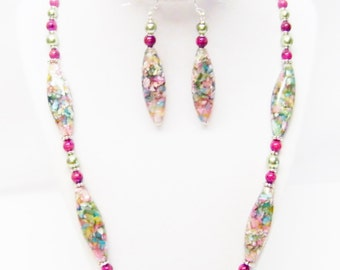 Long Oval Glass/Shell/Resin Bead Strand Necklace & Earrings