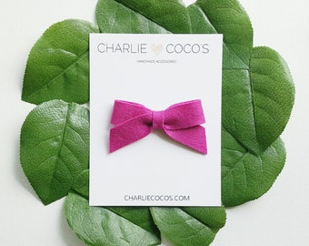"SALE Baby / Girls Felt Bow Headband OR Hair Clip ""Mulberry"" -Premium Wool Felt Bow by charlie coco's"