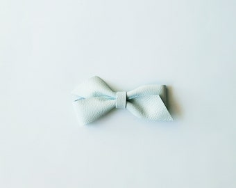 "Baby Leather Bow, Leather Bow Headband, Leather Hair Bow Clip, Baby Blue, Pastel Leather Bow, Girls Leather Bow by charliecocos ""Twisty"""