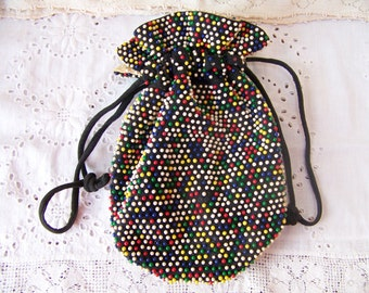 Vintage Draw String Purse.Reversible Beaded Purse.Multicolored Beaded Handbag.Vintage Beaded Purse.Vintage Tote.Beaded Vintage Purse.Purses.