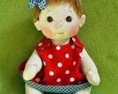 "Fretta's BeBe Cheeks Doll. Fair Skin Brown Eyes Light Brown Hair Baby. Jointed 43 cm /17"" Soft Sculpted Girl. Child Friendly Doll."