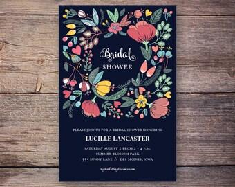 Garden Party Bridal Shower, Garden Party invitation, Bridal Shower Invitation, Spring bridal shower, flower bridal shower - lucille