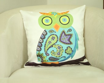 16''x16''Owl Decor Pillow, Wise Owl, Owl Pillow Case, Decorative Pillow, Pillow Cover, Pillow, Boho Pillow Case For Daybed Swing Mudcloth