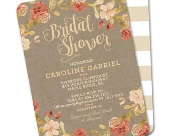 Fall Bridal Shower Invitation Autumn Watercolor Floral Burnt Orange Peach Coral Kraft ANY EVENT