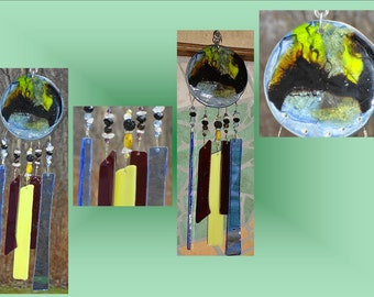 Blue Yellow Glass Windchime Galactic Fused Glass Garden Decor Wind Chime Stained Glass Suncatcher Hanging Mobile Pottery