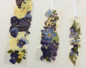 Laminated pansies, violas, delphs bookmarks 3 sizes no.111