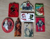Set of 8 KRAMPUS Laser Cut Ornaments Vintage German postcard images wood Made in America