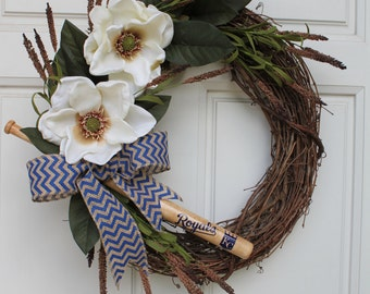 Kansas City Royals Magnolia Royal Blue Burlap Chevron Bow Grapevine KC Wreath