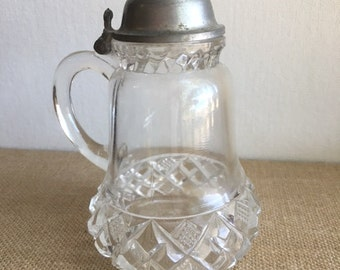 Pattern glass Vintage small syrup with hinged metal lid