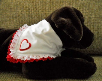 Pet Bandana Valentine Hearts and Lace Medium Slide on the Collar