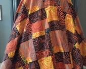 50s Full Circle Linen Novelty Print Circle Skirt