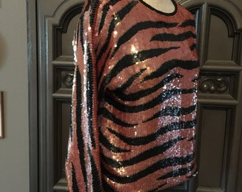 Liquid Sequined 80s Tiger Party Top