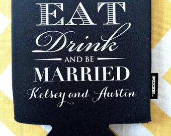 Eat Drink and Be Married KOOZIE®, monogram modern wedding KOOZIE®, formal wedding KOOZIE®, fancy stubby holders, eat drink be married design