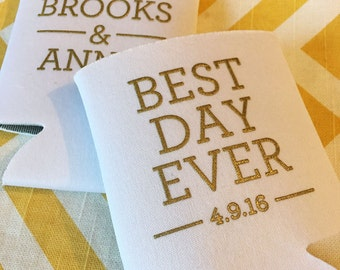 Best Day Ever simple wedding can coolers, modern simple wedding stubby holder, Best Day ever can coolie, wedding beverage holder (100 qty)