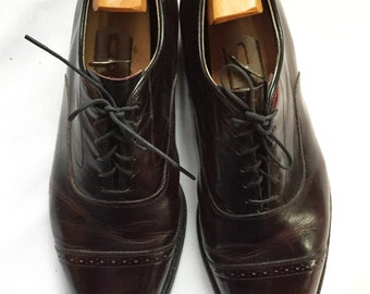 Men's Cap Toe Oxfords Size 8, Dark Brown, High Quality, Great Condition