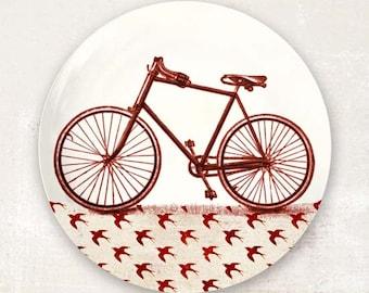 Red bike plate melamine dinnerware