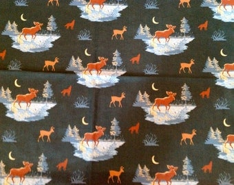 Dark Green Moose Fabric 100% cotton Fat Quarter