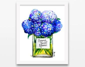 Hydrangeas Home Print | Summer Illustration, Drawing, Flower Art, Watercolor Painting, Home Decor, Blue, Purple, Women, Glass Vase