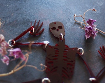 Halloween Skeleton - Articulated Anatomical Window Hanging - Transparent Red