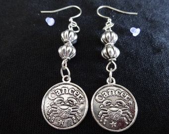 Cancer Zodiac Earrings Silver Tone Earrings with Silver Plated Charm and Beads  Item # 531