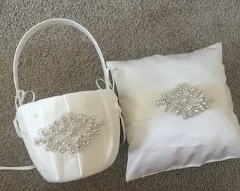 Wedding Flower Basket & Ring Bearer Pillow Set