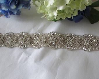 BIG SALE Wedding Dress Sash Belt, Bridal Sash Belt - Crystal Pearl Sash Belt