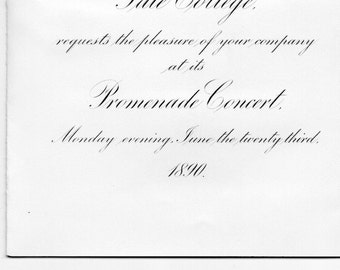 Antique 1890 Yale College Promenade Concert Invitation W Committee Member Lsting Great Ephemera From 1890 S