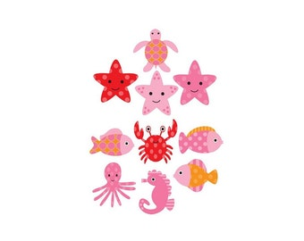 Set of 10 Iron On Heat Transfer Sheets Pink Under The Sea  Appliques for  Baby Girl, Baby Shower