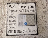 12x12 wooden sign with black picture frame! Great gift for any Nanny