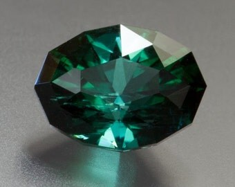 2.55ct- 7 x 9mm Intense Blue/Green Faceted Oval Indicolite Tourmaline Loose Gemstone from Afghanistan, Custom Cut.