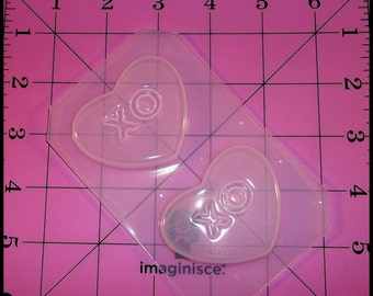 XO Valentines Day Conversation Heart Flexible Plastic Resin Mold (2 Cavity)