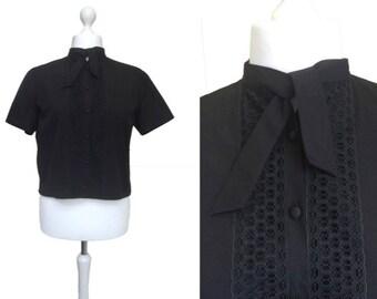 1950's Blouse - 50's Vintage Blouse - 46 Bust Large  - Tie Neck Lace Front Blouse